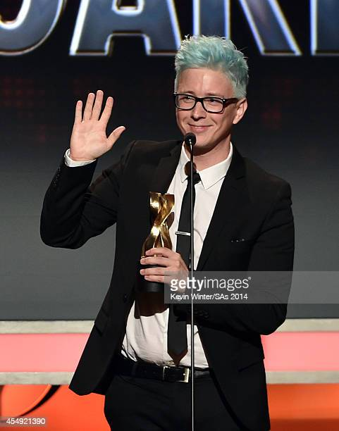 Internet personality Tyler Oakley winner of Entertainer of the Year speaks at the 4th Annual Streamy Awards presented by CocaCola on September 7 2014...