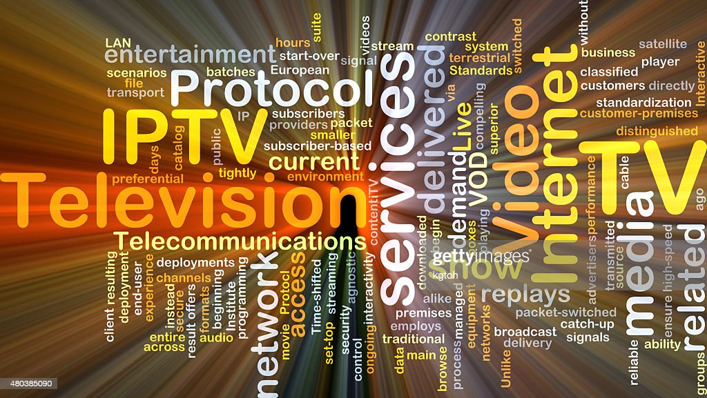 Internet Protocol Television Iptv Background Concept Glowing Stock