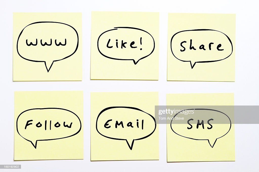 Internet related sticky reminder notes : Stock Photo