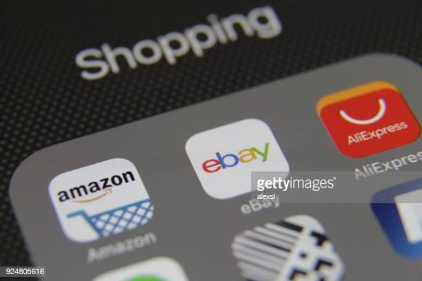 インターネットオンラインショッピングのアプリケーション - ebay ストックフォトと画像