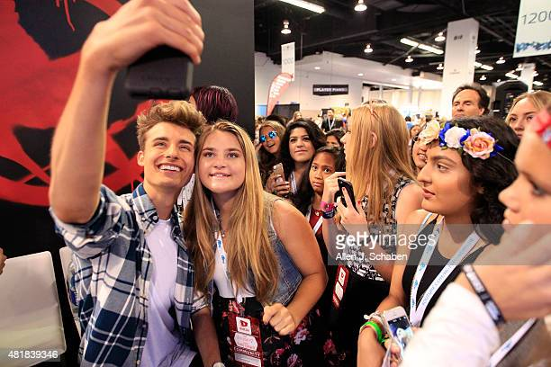 Internet star Chris Collins poses for a photo while making an appearance at VidCon at the Anaheim Convention Center July 23rd to 25th on July 24 2015...