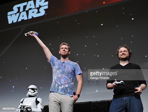 """Internet stars Corey Vidal and Martin Glaude during the presentation of the Unboxing of new product line in promotion of Lucasfilm's """"Star Wars:..."""