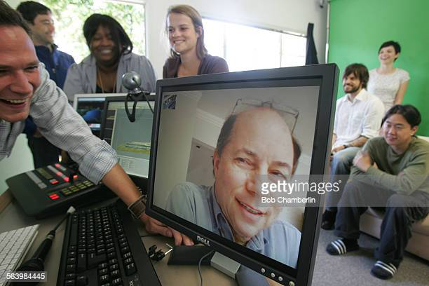 Internet video maker Robert Greenwald meets with his colleagues over the computer from New York as they congregate in the studio at their Brave New...