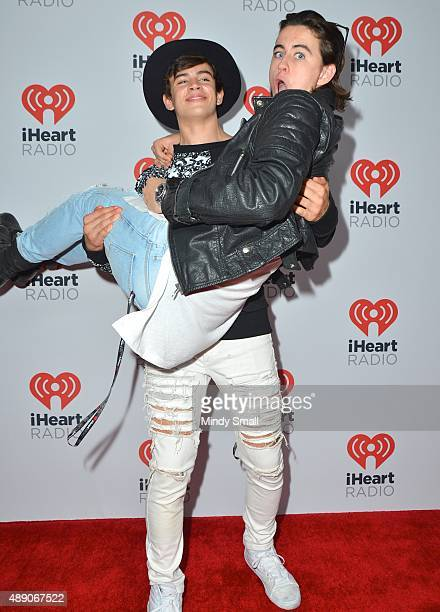 Internet/Vine personalities Hayes Grier and Nash Grier arrive at the 2015 iHeartRadio Music Festival Night 1 on September 18 2015 in Las Vegas Nevada