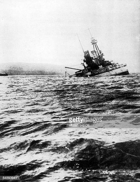 Internment of german high seas fleet at Scapa Flow Scuttle of the fleet on June 21st 1919 Sinking ship of line 'Bayern'