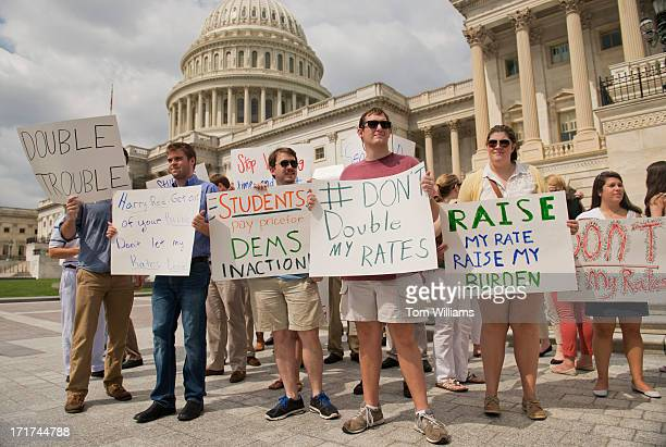 Interns from around the city protest near the Senate steps to urge the Senate to act on a House passed bill Smarter Solutions for Students Act which...