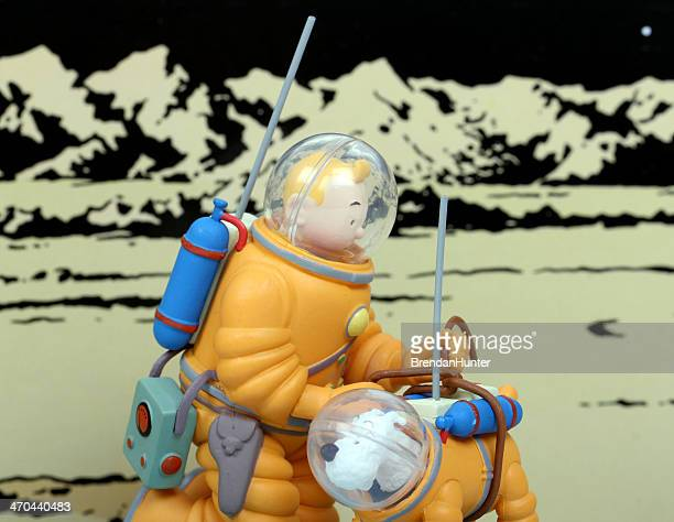 interpid space dog - tintin stock photos and pictures