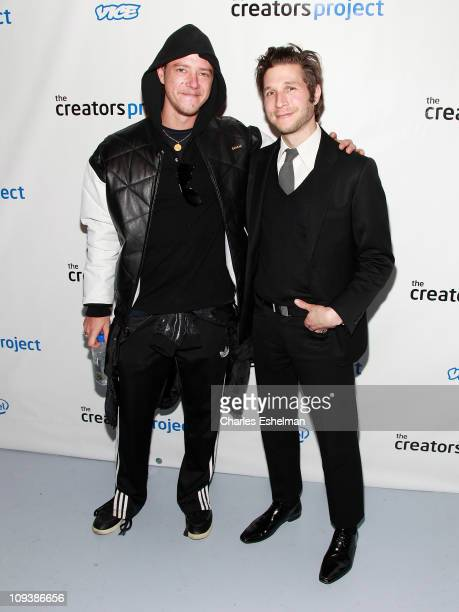 Interpol band members Paul Banks and Daniel Kessler attend the Creators Project Studio launch at 3LD Art Technology Center on February 23 2011 in New...