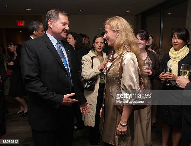 Interpol Executive Committee Member Thomas Fuentes and Film Subject Carolina Larriera attend the HBO documentary screening of Sergio at United...