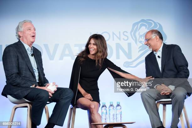 Interpublic Group Michael Roth Actress Halle Berry and CMO Mastercard Raja Rajamannar attend the 'Tapping New Media To Connect with Fans and Their...