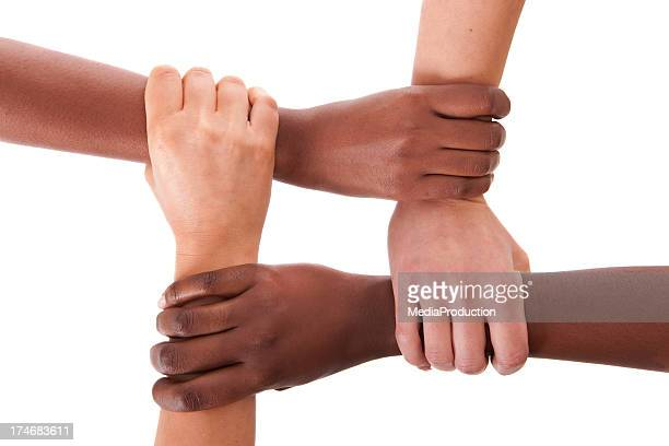 interracial support - vier personen stockfoto's en -beelden