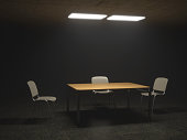 Interrogation Room with Chairs and Table