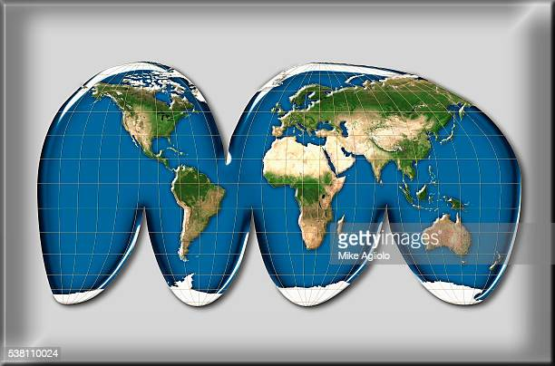 interrupted homolosine projection of world map - mike agliolo stock pictures, royalty-free photos & images
