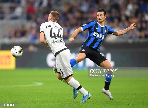 Inter's Antonio Candreva vies with Parma's Dejan Kulusevski during a Serie A soccer match between FC Inter and Parma in Milan Italy on Oct 26 2019