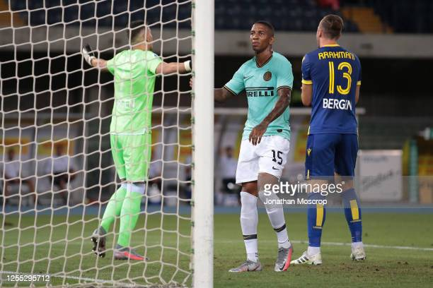 Inter's English midfielder Ashley Young reacts during the Serie A match between Hellas Verona and FC Internazionale at Stadio Marcantonio Bentegodi...