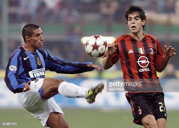 Inter's Ivan Cordoba is challenged by AC Milan's Kaka Gattuso during the Italian Serie A match between AC Milan and Inter Milan at the Guiseppe...