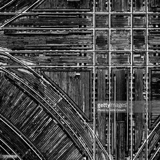 Intersecting train tracks form grid