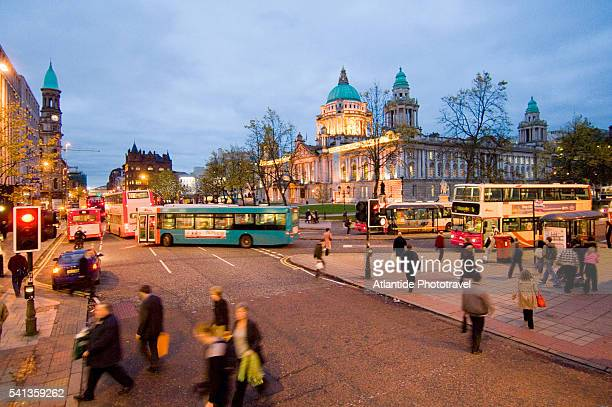 intersection at belfast city hall on donegall square - donegall square stock pictures, royalty-free photos & images