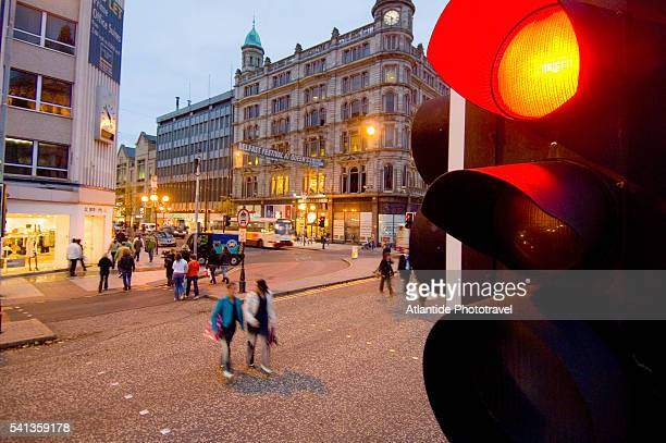 intersection at donegall square in belfast - donegall square stock pictures, royalty-free photos & images