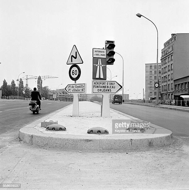 Intersection du périphérique et de l'entrée de l'autoroute du Sud à la Porte de Gentilly à Paris France le 17 mai 1960
