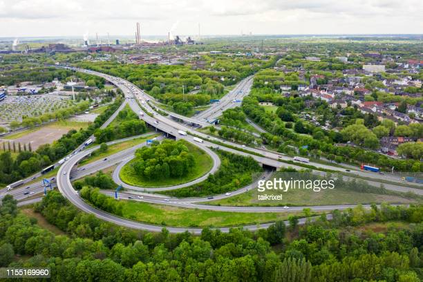 intersection highways from above, germany - ruhr stock pictures, royalty-free photos & images