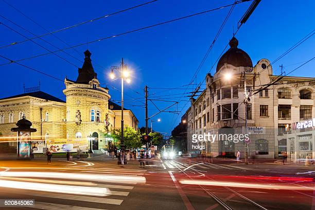 intersection in belgrade, serbia - vehicle light stock pictures, royalty-free photos & images