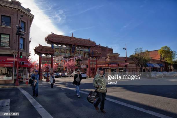 Kreuzung vor Chinatown Gatter, Victoria, BC, Kanada
