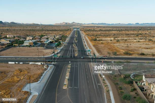 Intersection in North Phoenix as seen from a low flying hot air balloon