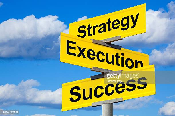 intersection of strategy, execution, and success - execution stock pictures, royalty-free photos & images