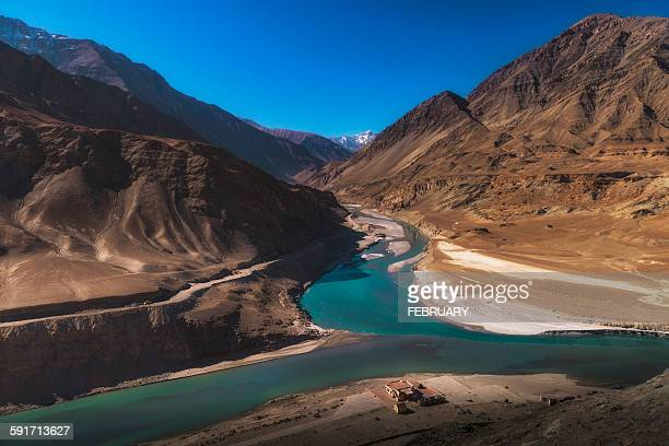 Intersection point of Zanskar and Indus rivers