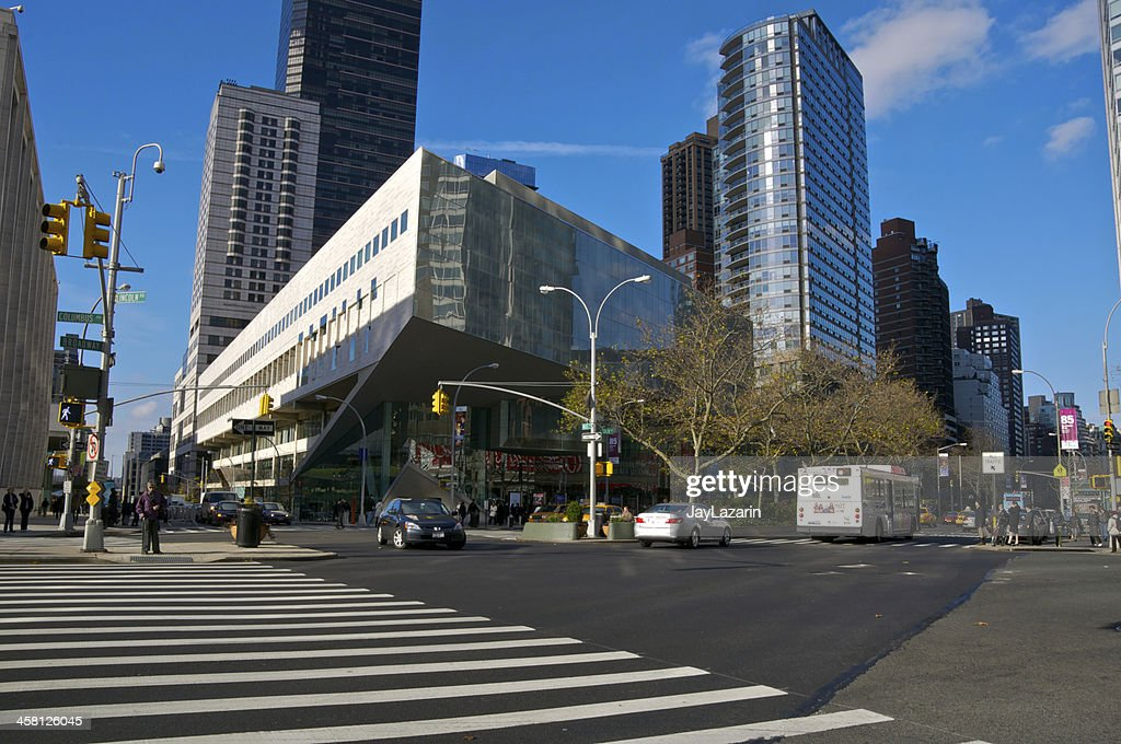 NYC Intersections Broadway W65th Street Cityscape Stock Photo
