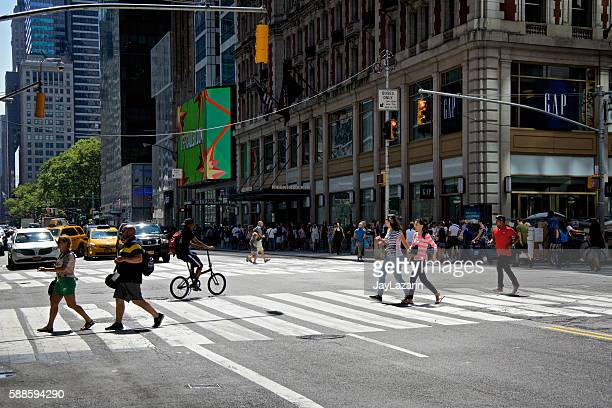NYC Intersections, Pedestrians crossing 42nd St at Broadway, Midtown Manhattan