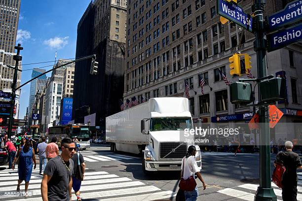 NYC Intersections, Tractor-Trailer and Pedestrians Crossing, 7th Avenue, Manhattan