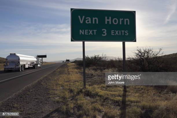 Interstate 10 passes through west Texas on November 22 2017 at Van Horn Texas Federal agents are searching for suspects in the death of US Border...