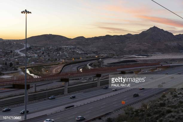 Interstate 10 runs parallel to the USMexico Border where the boundary line becomes the Rio Grande near Mt Christo Rey in central El Paso on December...