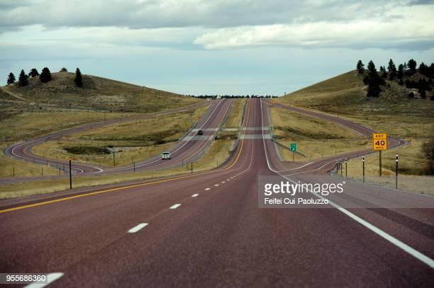 interstate 25 near glenrock, wyoming  usa - exit sign stock pictures, royalty-free photos & images