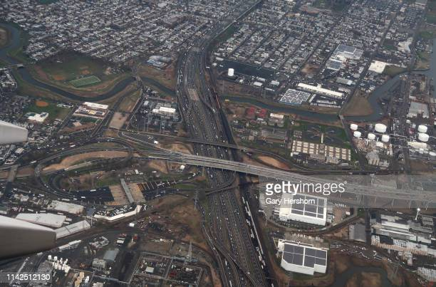 Interstate 278 crosses over the New Jersey Turnpike as seen from an airplane on April 12 2019 over Linden New Jersey