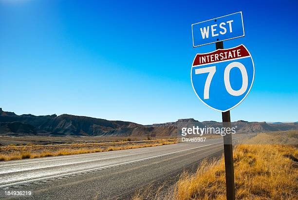 interstate 70 going west sign - interstate 70 stock photos and pictures