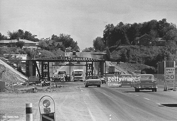 JUN 6 1966 JUN 8 1966 Interstate 70Wadsworth Crossing Progressing Auto traffic picks its way through the obstacle course formed by the crews building...