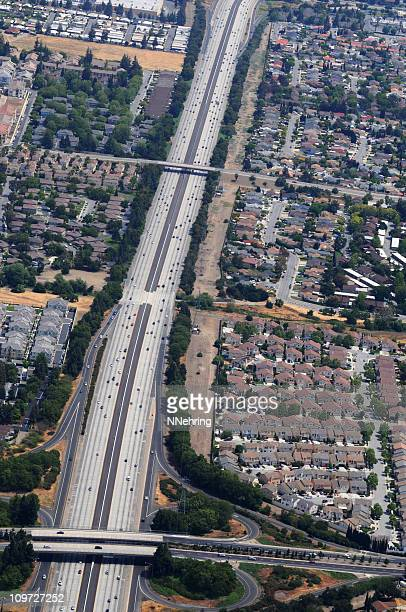 interstate highway aerial view through citty, San Jose, California