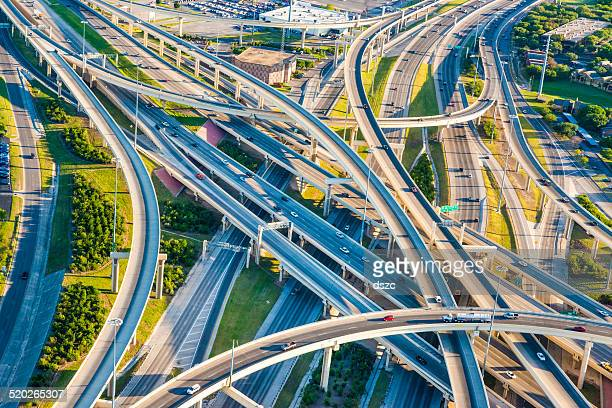 interstate highway interchange i10 i410 convoluted mixmaster san antonio aerial - san antonio stock photos and pictures