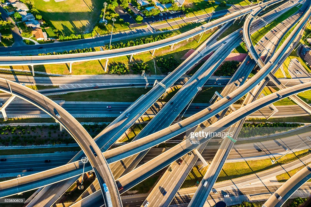 Interstate Highway Interchange I10 I410 convoluted mixmaster San Antonio aerial : Stock Photo