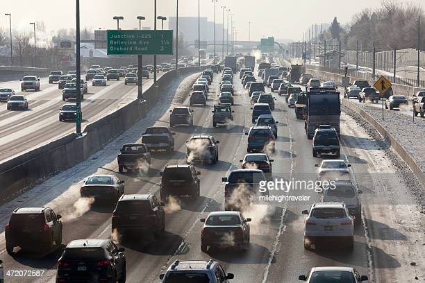 Interstate-25 traffic and exhaust fumes Denver Colorado