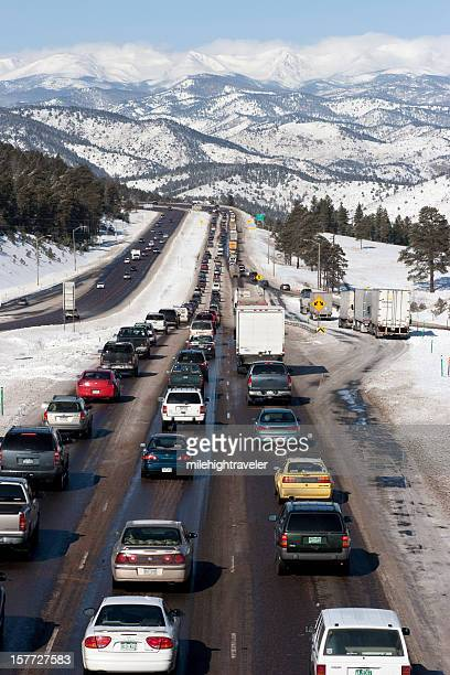 Interstate-70 highway traffic and Rocky Mountains Colorado vertical
