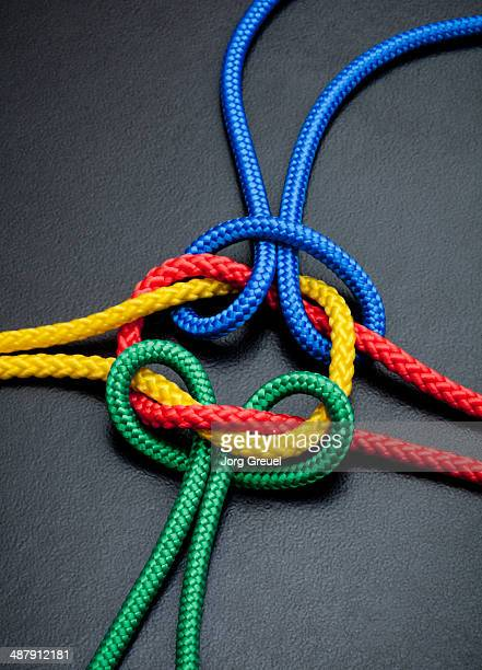 Intertwined multicolored ropes