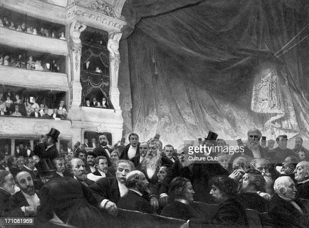 Interval at the Comedie Francaise A group portrait of audience of 19th century literary and performing arts celebrities at the Paris theatre...