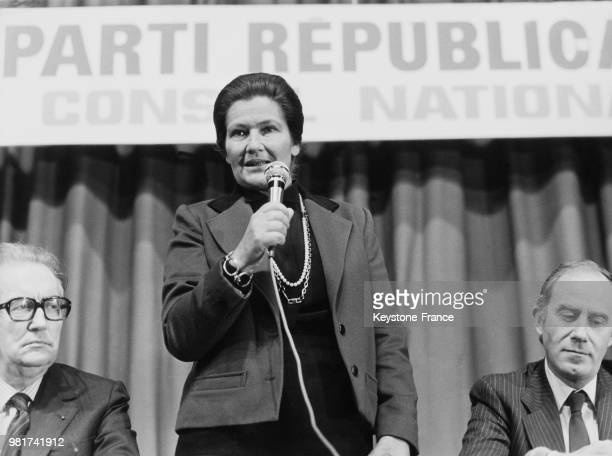 Intervention de Simone Veil au conseil national du parti républicain à Vincennes en France le 24 octobre 1983
