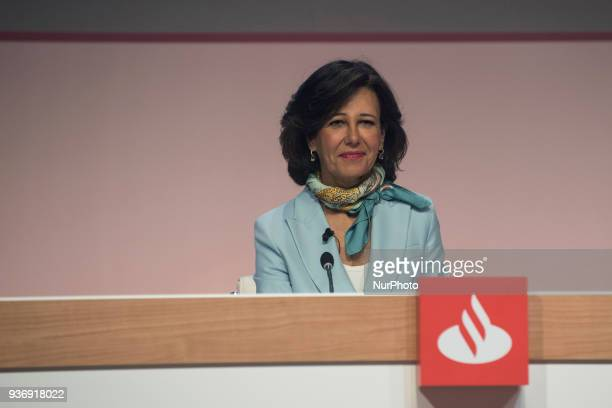 Intervention of the Group executive chairman of Banco Santander Ana Botin during the annual general meeting of shareholders of Banco de Santander in...