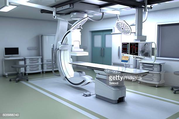 interventional x-ray system - hospital equipment stock photos and pictures