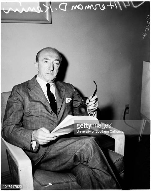 Interview 11 June 1958 Herman D Kenin Caption slip reads 'Photographer Rustan Date Reporter Massard Assignment Press conf 41/42 Herman D Kenin Pres...